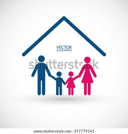 Family, house symbol and a place for text.  - stock vector