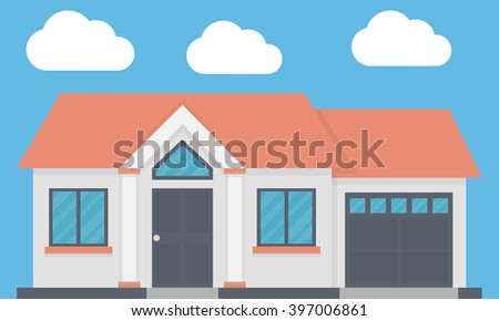 Family house with garage. Front view. Flat design - stock vector