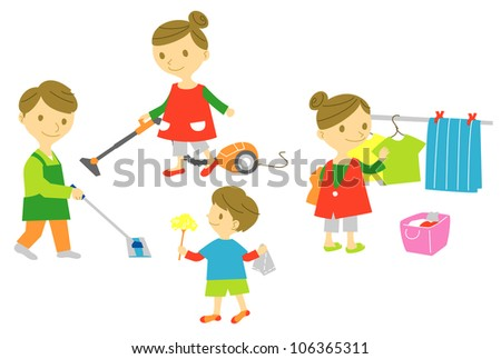 Family, housekeeping, cleaning, washing