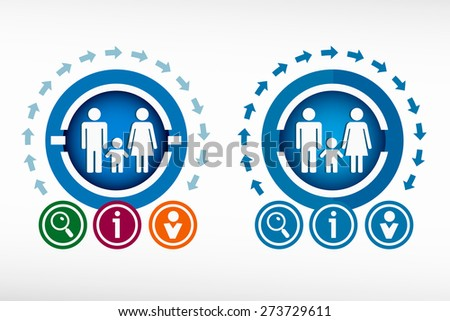 Family icon and creative design elements. Flat design concept. - stock vector