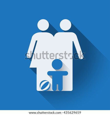 Family icon, flat design. Family symbol, isolated illustration, editable. Blue background. - stock vector - stock vector