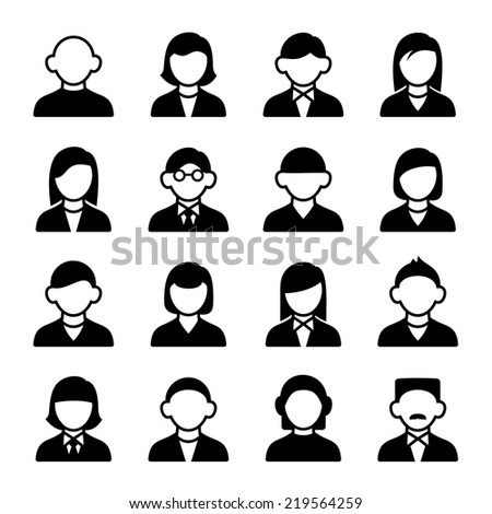 Family Icons and People Icons on White Background - stock vector