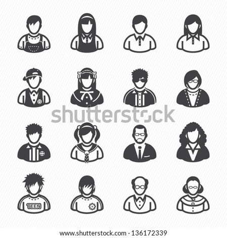Family Icons and People Icons with White Background - stock vector