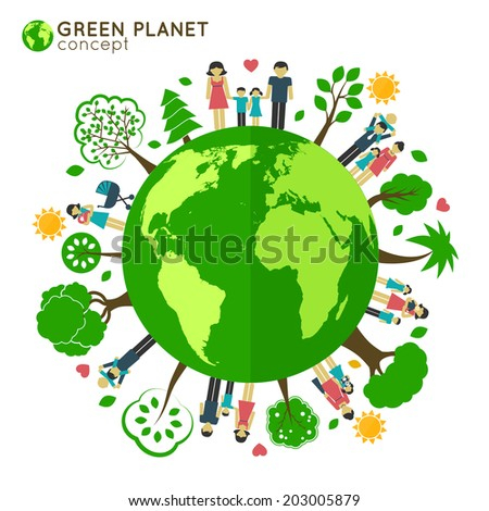 Family icons around the globe green planet ecology concept vector illustration