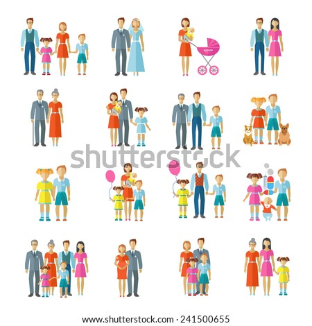 Family icons flat set with married couple children and pets avatars isolated vector illustration - stock vector