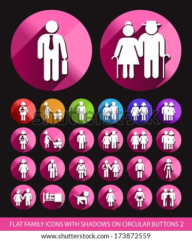 Family Icons on Circular Buttons 2. - stock vector