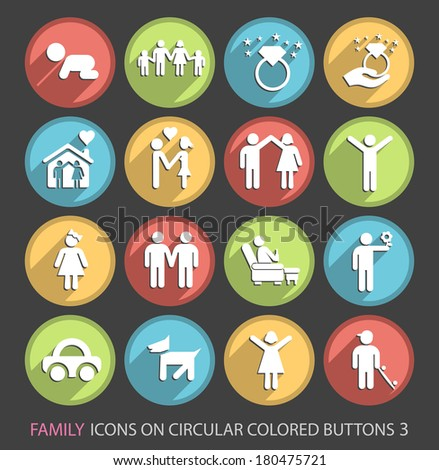 Family Icons on Circular Colored Buttons 3. - stock vector