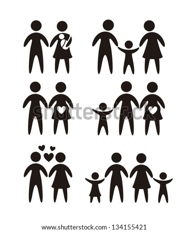 family icons over white background. vector illustration - stock vector