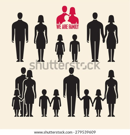Family icons. People icons. People vector silhouette. - stock vector