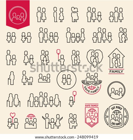 Family icons set. People line icons. Family and child logos. - stock vector