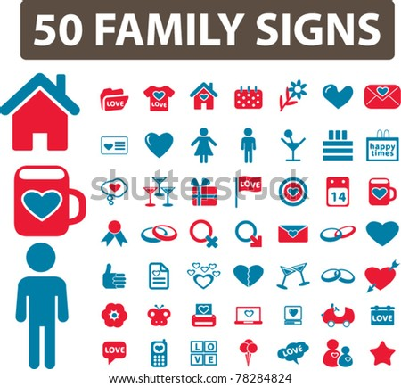 family icons, signs, vector illustrations - stock vector