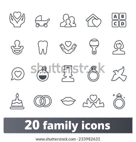 Family icons: vector set of home, love, baby, engagement, wedding signs. Outline series. - stock vector