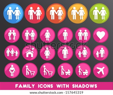 Family Icons with Shadows.  - stock vector
