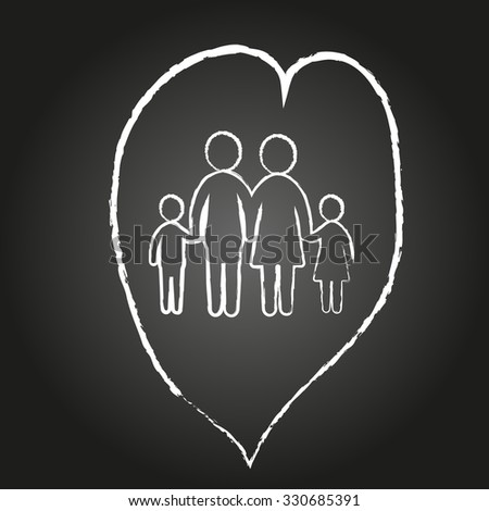 family in a heart drawn in chalk on the blackboard vector - stock vector