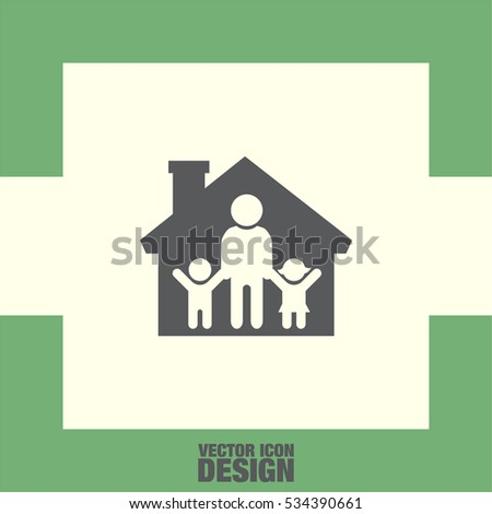 Family in House vector icon. People in home sign. Father with kids symbol