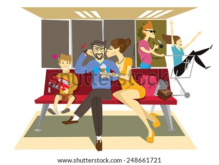 Family in the mall shoping sitting man woman and kid man eating eat ice cream wife kissing man boy kid with toy car in hand good spend time in the shop