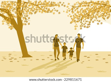 Family in the park on autumn - stock vector