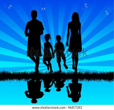 Family in water - reflection , vectors work - stock vector