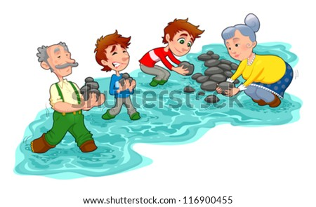 Family is making a little dam with stones.  Vector and cartoon illustration. - stock vector
