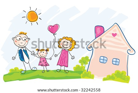 Family is moving into new house. Doodle vector Illustration. See similar pictures in my portfolio! - stock vector
