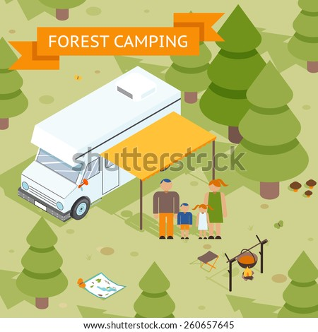 Family isometric forest camping. Dad mom daughter and son rest in nature. Vector illustration - stock vector