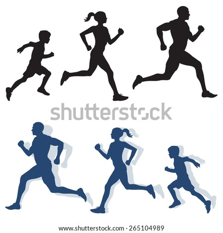 Family jogging in vector silhouette format - stock vector