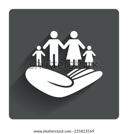Family life insurance sign. Hand holds human group symbol. Health insurance. Gray flat square button with shadow. Modern UI website navigation. Vector - stock vector