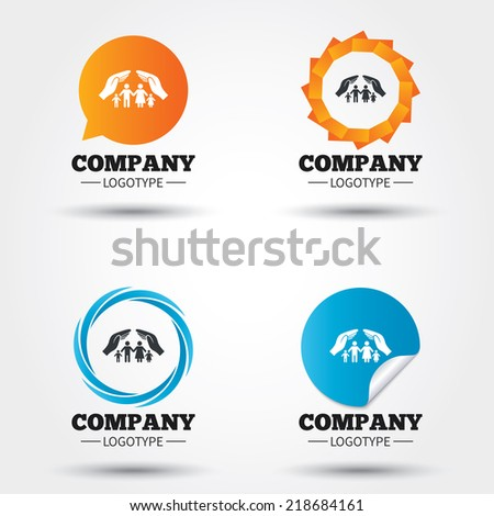 Family life insurance sign icon. Hands protect human group symbol. Health insurance. Business abstract circle logos. Icon in speech bubble, wreath. Vector - stock vector