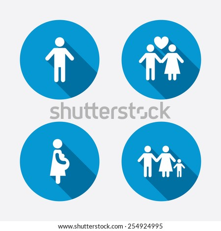 Family lifetime icons. Couple love, pregnancy and birth of a child symbols. Human male person sign. Circle concept web buttons. Vector - stock vector