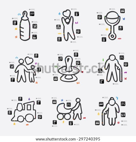family line infographic illustration. Fully editable vector file - stock vector