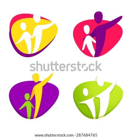Family logo design. Vector illustration design elements.  - stock vector