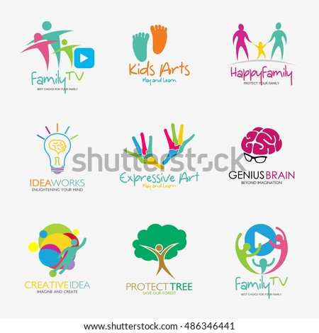 Family Logo Kids Logo Brain Logo Stock Vector 486346441 Shutterstock