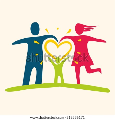 Family love icon - stock vector
