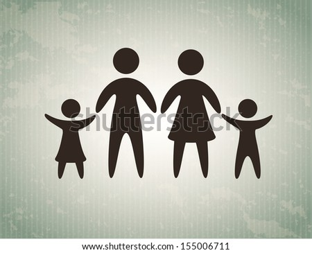 family love over gray background, vector illustration - stock vector