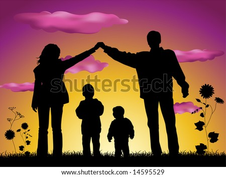 family making house silhouette - stock vector
