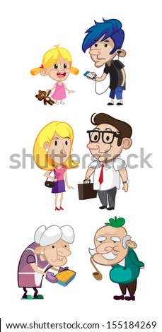 Family Members Cartoon Characters, The whole family, mother, father, son, daughter, grandmother, grandfather, grandchildren  - stock vector