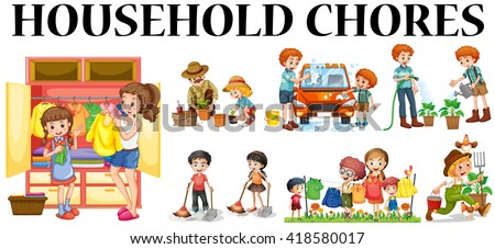Family Members Doing Different Chores Illustration Stock ...