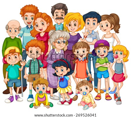 Family members happy together in one shot - stock vector
