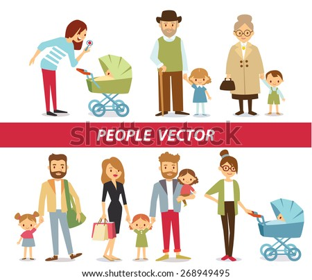 family members including parents, grandparents and baby kids - stock vector