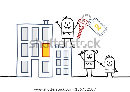 family & new home - stock vector