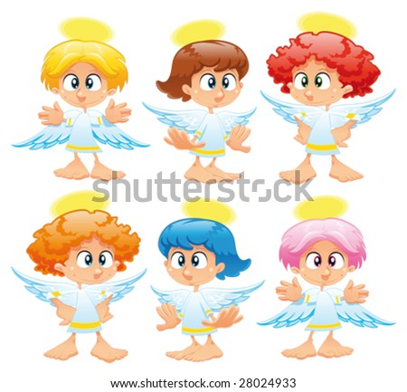 Family of angels - stock vector