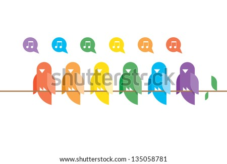 Family of birds in rainbow colors sitting and singing on a tree branch with green leaves. Nature music concept. - stock vector