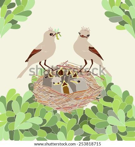 Family of birds in the nest - stock vector