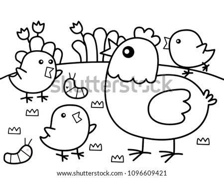 Family Chicken Garden Without Color Stock Photo (Photo, Vector ...