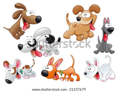 Family of dogs - stock vector