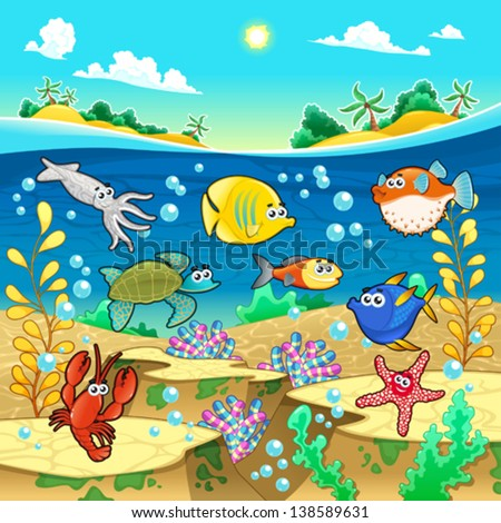 Family of funny fish in the sea. Vector and cartoon illustration.  - stock vector