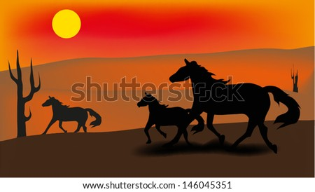 Family of horses on a meadow in the evening,vector