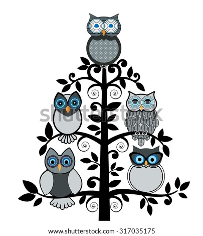 Family of owls in a tree - all different  - stock vector