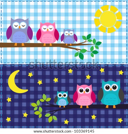 Family of owls in the daytime and nighttime - stock vector