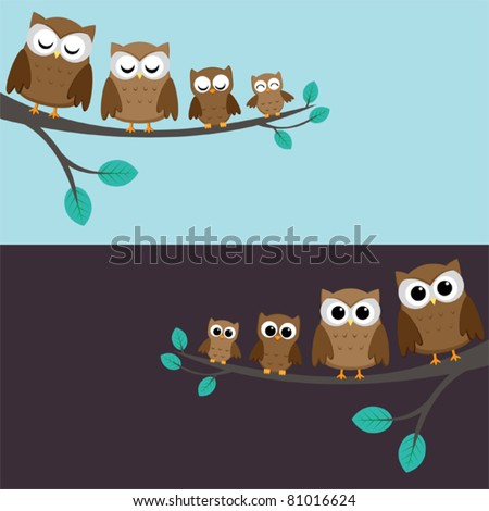 Family of owls sitting on a branch. Two variations. - stock vector